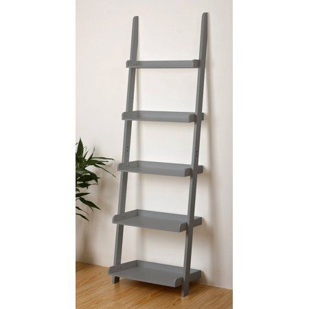 Free Shipping Buy 5 Tier Leaning Wall Ladder Bookcase Shelf In Grey At Walmart Com Wall Bookshelves Bookcase Ladder Bookcase
