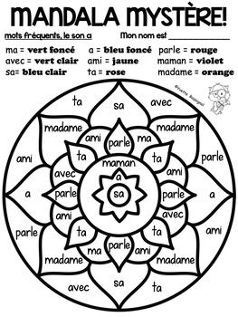 Mandala Mots Frequents Et Lettres Gratuit Free French Color By Code Mandalas French Colors Sight Words Words