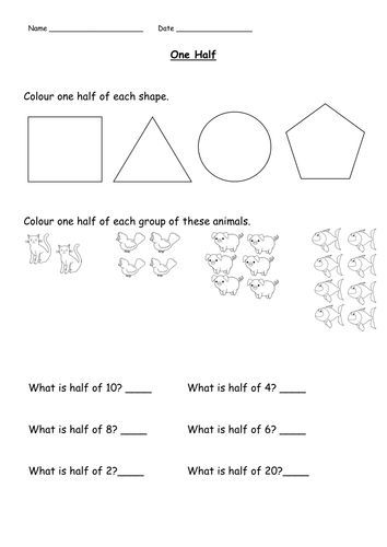 One Half Resource Pack Differentiated Ks1 Fractions Learning Fractions Teaching Fractions Fractions