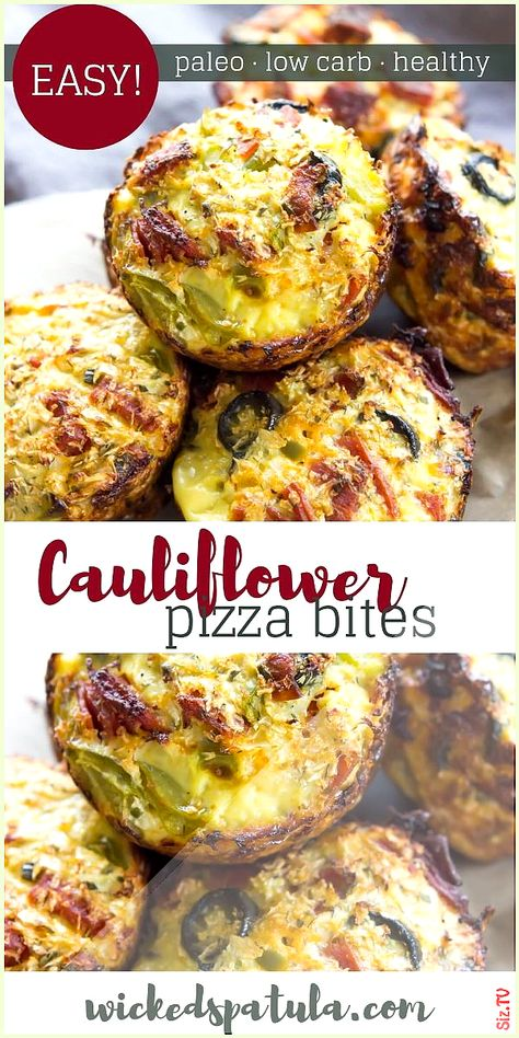 Paleo Low Carb Cauliflower Pizza Bites Recipe Paleo Low Carb Cauliflower Pizza Bites Recipe Lara Kelder booserlara koolhydraatarm Cauliflower Pizza Bites  SO EASY customizable and kid nbsp  hellip   #Bites #Carb #Cauliflower #Paleo #Paleo pizza bites #Pizza #Recipe