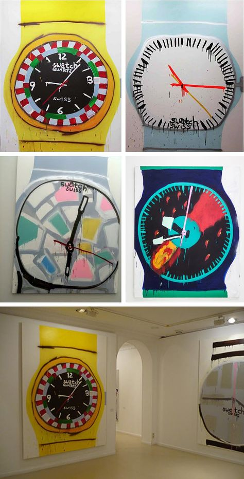 large acrylic painting of swatch watches