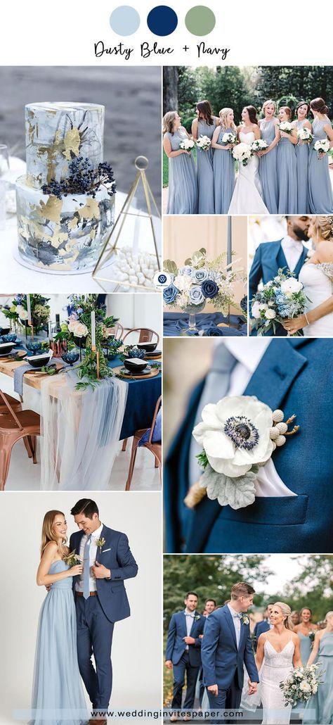 Navy Wedding Colors, Blue Suit Wedding, Sage Green Wedding, Winter Wedding Colors, Wedding Color Schemes, Navy Spring Wedding, March Wedding Colors, Wedding Suits, Dusty Blue Bridesmaid Dresses