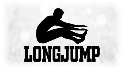 Sports Clipart Large Black And White Track Field Words Long Jump Male Athlete Jumper Make Any Color Digital Download Jpg Png Svg Track Field Athlete Long Jump