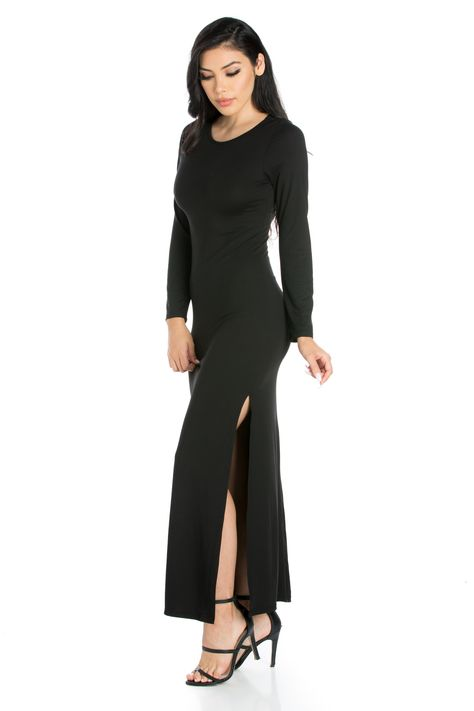 164f54c5cdd Long Sleeve Bodycon Maxi Dress with Side Slit Fitted Maxi Dress Strut like  you mean it with this glamorous long sleeve maxi dress.