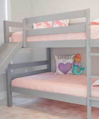 Kinsley Gray Wooden Bunk Bed With Slide Bunk Bed With Slide Bed
