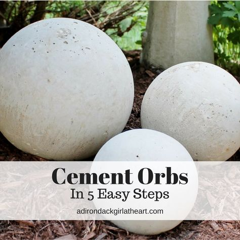 Learn how to make your own garden cement orbs in five simple steps, using thrift store, found glass globes made for light fixtures. garden art Create Your Own Cement Orbs in 5 Easy Steps Concrete Yard, Cement Garden, Cement Art, Concrete Crafts, Concrete Projects, Garden Art, Diy Cement Planters, Cement Design, Diy Garden Fence
