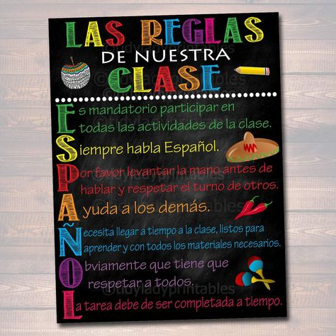 Español Classroom Rules Printable Poster - Clase de Español Reglas De Nuestra Clase, Teacher Classroom Sign