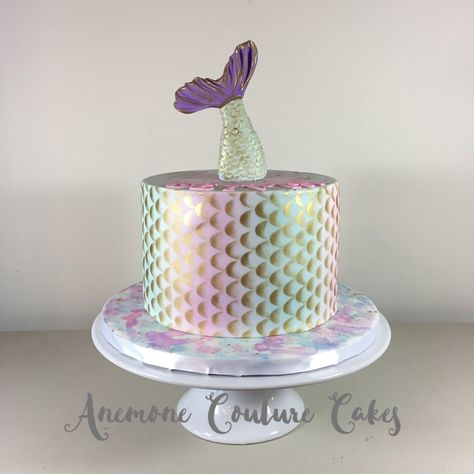 Mermaid cake with ombre details and gold scales.  Pink, purple and teal with a watercolor board. File Jun 25, 10 44 05 AM.jpeg