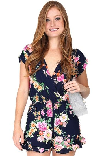 f29f39dee8c Navy Blue Floral Romper at Blush Boutique Miami - ShopBlush.com ...