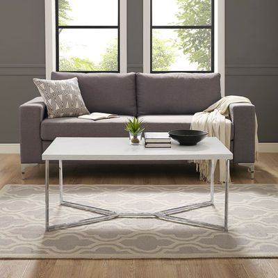 Contemporary Chrome Faux Marble Y Leg Coffee Table Faux Marble