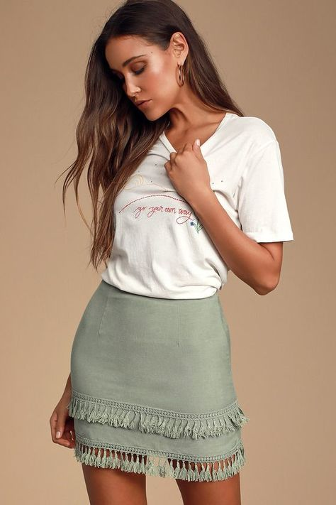 Lulus Exclusive! Step up your skirt game with the Lulus Sekera Sage Green Tassel Mini Skirt! A high fitted and darted waist flows seamlessly into a cute A-line mini skirt. Double tassel trim adds the perfect amout of flirty and fem vibes to this lightweight woven piece. Hidden clasp/zipper at back. Pair with a tucked in band tee for a completely cute look!  - Mini Skirts - Ideas of Mini Skirts #MiniSkirts