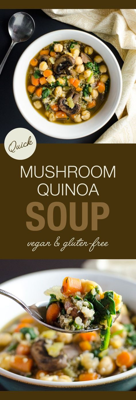 Quick Mushroom Quinoa Soup - this easy vegan gluten-free recipe is loaded with the top nutrient-dense foods we should try to eat every day!   VeggiePrimer.com