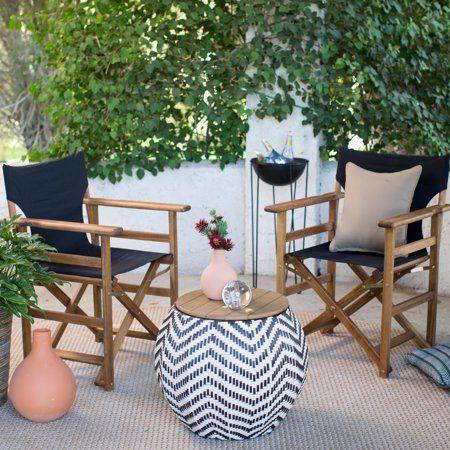Belham Living Mayotte Chevron Aluminum Wicker Outdoor Storage Table Image 5 Of 6 Outdoor Coffee Tables Coffee Table For Balcony Outdoor Dining Room