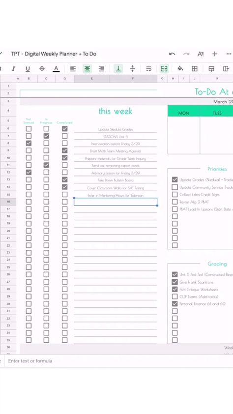 DIGITAL Weekly Planner + To ado!