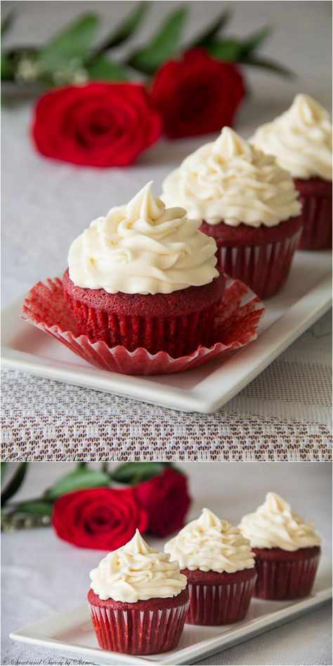 Delicisously moist and smooth red velvet cupcakes with buttery soft crumbs topped with sweet and tangy cream cheese frosting. These are cupcakes to die for! For open house