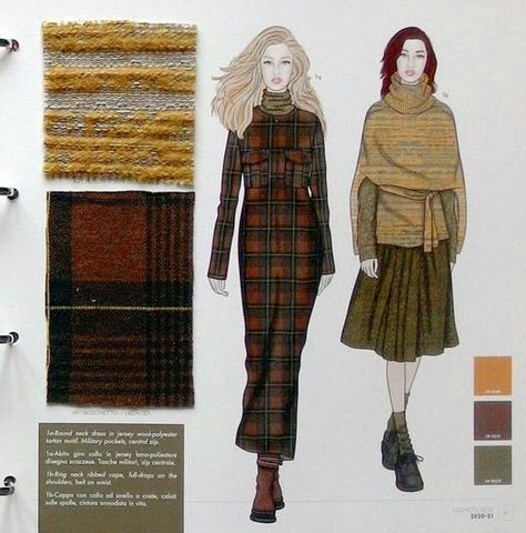 Fashion Box Knit Women AW including colour charts, knit designs and structures with original material swatches, knitwear sketches .