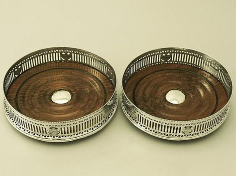 Sterling Silver Coasters Antique