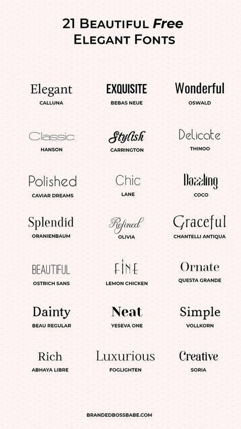 20 Beautiful and free elegant fonts