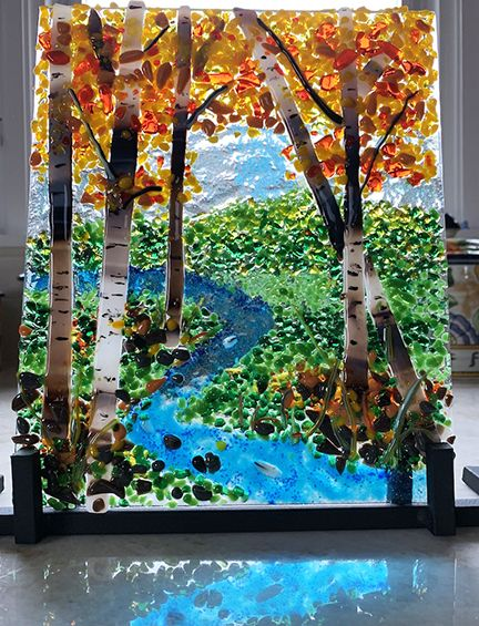 Fused Glass Landscape Fused Glass Wall Art Glass Wall Art Glass Art Pictures