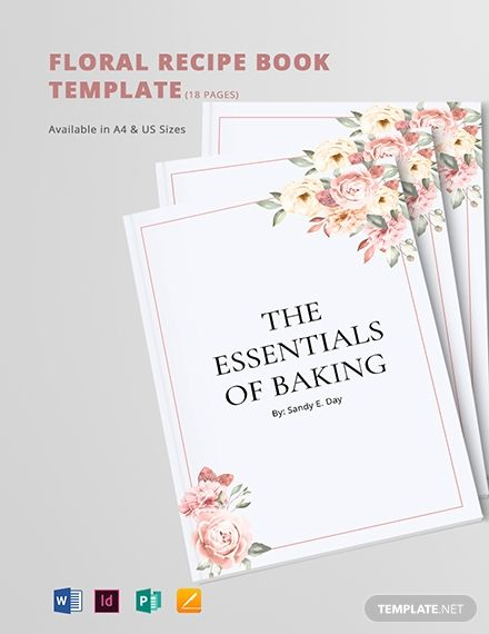 Floral Recipe Book Template Free Publisher Indesign Word Apple Pages Template Net Recipe Book Templates Recipe Cards Template Book Template