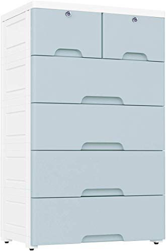 New Nafenai Plastic Drawers Dresser Storage Cabinet 6 Drawers Closet Drawers Tall Dresser Organizer Clothes Playroom Bedroom Furniture Blue Grey Online Favo In 2020 Plastic Drawers Storage Cabinet With Drawers Dresser Storage
