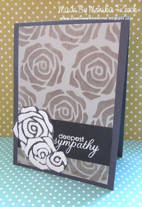 Creative With Monika: Color Challenge at Sunday Stamps, Grey + White Sympathy Card & my #1 Christmas Card in July