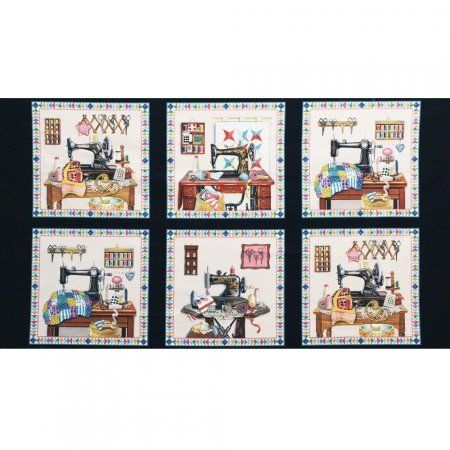 Elizabeths Studio Stitch in Time Sewing Patchwork Panel Black