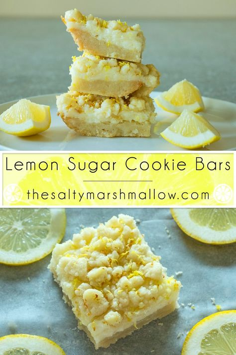 Sugar Cookie Bars Easy lemon bars with a sweet sugar cookie crust and tangy lemon cheesecake filling topped with more cookie crumble!Easy lemon bars with a sweet sugar cookie crust and tangy lemon cheesecake filling topped with more cookie crumble! Lemon Sugar Cookies, Sugar Cookie Dough, Cookie Crust, Blueberry Cookies, Lemon Cupcakes, Oreo Dessert, Dessert Bars, Dessert Food, Lemon Bars