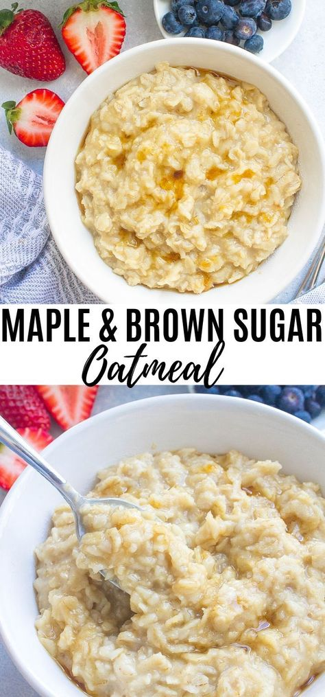 Start your mornings off with Maple and Brown Sugar Oatmeal! Packed with whole grains and a warm maple and brown sugar flavor that you can't resist! #maple #maplesyrup #oats #oatmeal #brownsugar  #breakfast