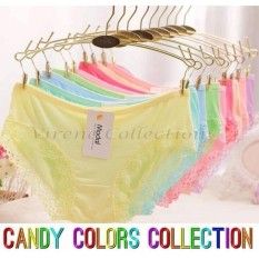 021164CPC WHOLESALE - READY STOCK 10 Color 10pcs Perpack Candy Color Bamboo  Fiber Modal Soft Lace Ladies Panties Underwear 840e304be1