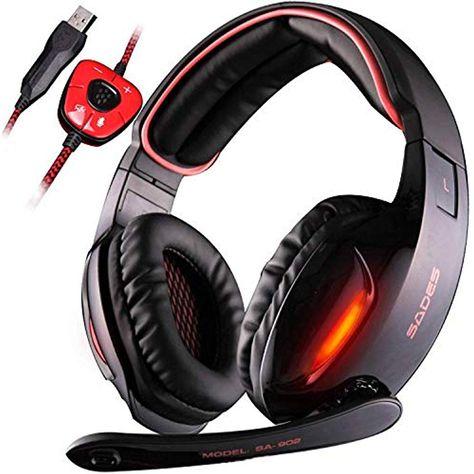 SADES SA902 - Cuffie da Pro Gaming USB con Suono Surround 7.1 Microfono  Deep Bass Controllo del Volume Nera  cuffiebluetooth  cuffie   cuffiewireless ... 9eae05e68784