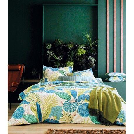 Linge De Lit En Percale Bali Bleu Canard Avec Images Parure De Lit Decoration Maison Linge De Lit