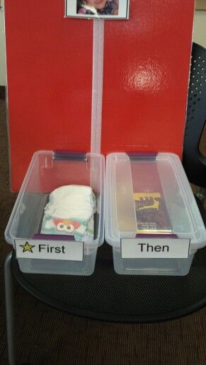 First/Then Functional Object Schedule  good idea except the red cardboard, must choose another color!
