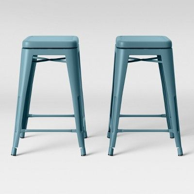 Awesome Set Of 2 Carlisle Backless Swivel Counter Stool Teal Pabps2019 Chair Design Images Pabps2019Com