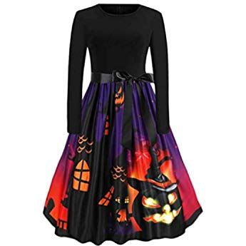 Sunny Fashion Girls Dress Halloween Witch Bat Pumpkin Costume Halter Dress Age 7-14 Years