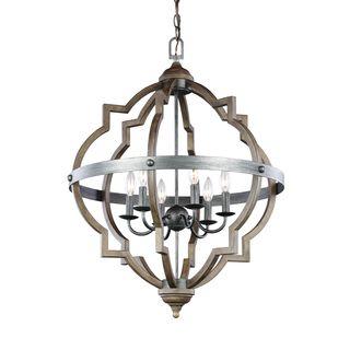 Benita 5-light Antique Black Metal Strap Globe Chandelier - 16276270 - Overstock Shopping - Great Deals on The Lighting Store Chandeliers & Pendants
