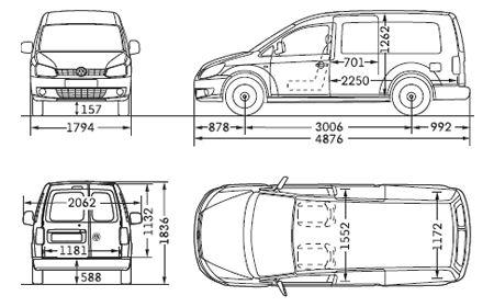 Con goma tapiz para bañera VW Volkswagen Caddy Maxi 2k antes-Facelift hochdachf