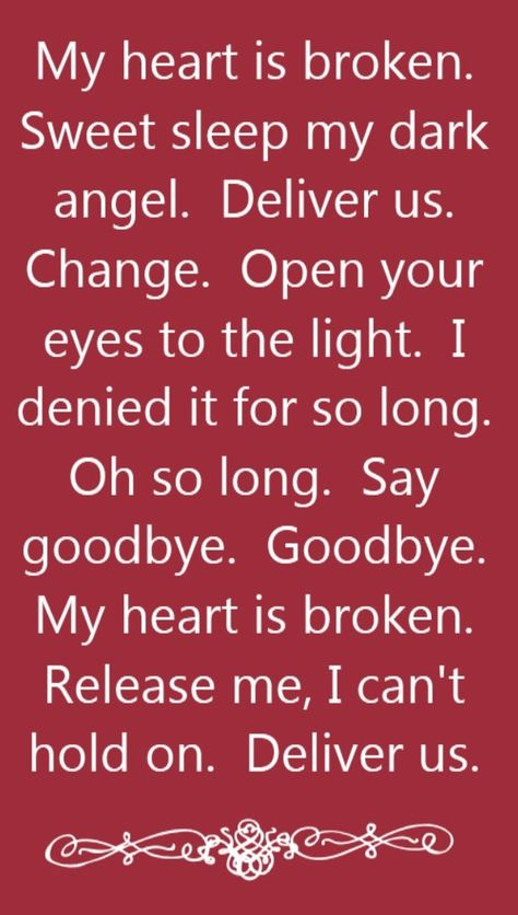 Evanescence My Heart Is Broken Song Lyrics Song Quotes Songs