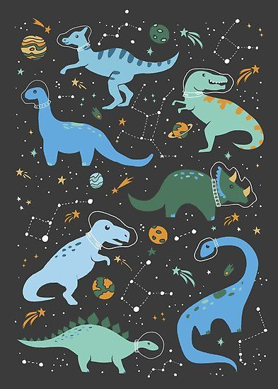Whimsical illustration of blue and green dinos dressed as astronauts in outer-space with meteor showers, planets, and constellations. Inspired by my son's first birthday where I couldn't decide between a dinosaur or outer-space theme, so I chose both. Blue Framed Art, Framed Art Prints, Canvas Prints, Blue Art, Framed Artwork, Canvas Art, Wall Art, Arte Do Sistema Solar, Space Wallpaper