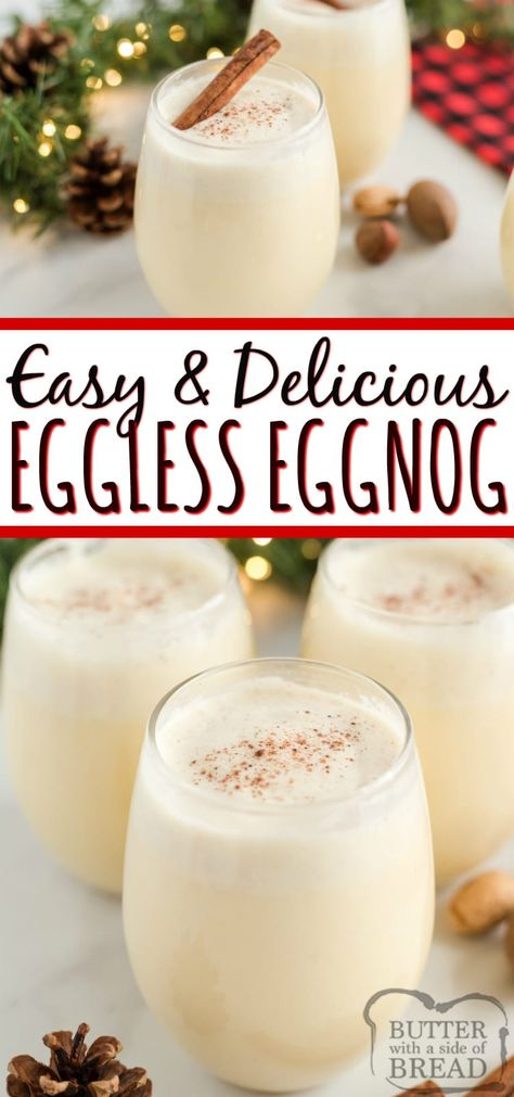 Easy Eggless Eggnog recipe can be made quickly in a blender with French vanilla pudding, milk, whipped cream and a few other basic ingredients! This homemade eggnog recipe tastes just like your favorite holiday drink, no eggs necessary! Christmas Drinks, Holiday Drinks, Christmas Desserts, Holiday Treats, Christmas Baking, Holiday Recipes, Cheap Christmas, Christmas Holiday, Christmas Cookies