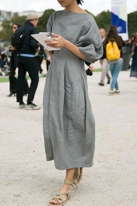 Linen Solid Casual Half Sleeves Maxi Dress