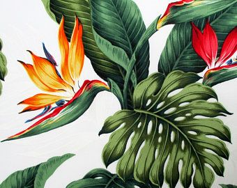 Fabric Leilani Bird Of Paradise Tropical Floral On White Hawaiian Flowers And Leaves By The Yard Hawaiian Flowers Birds Of Paradise Flower Paradise Flowers