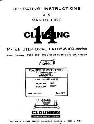Clausing 6900 14 Lathe Operating Instructions And Repair Parts Manual Instruction Repair Printing Double Sided