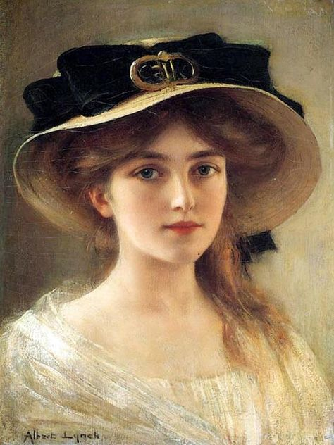 Portrait of a Young Girl by Albert Lynch - ArtWork . Classic Paintings, Rennaissance Art, Victorian Art, Victorian Paintings, Portrait Painting, Old Portraits, Portrait Art, Vintage Portraits, Aesthetic Art
