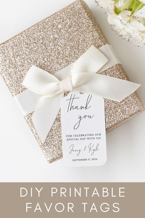 Create your own personalized favor/thank you tag with this DIY template. This template is instantly downloadable, all you have to do is purchase, personalize & print! See how easy it really is by clicking through to use the FREE demo link! #weddingfavors #diywedding #thankyoutag #favortag