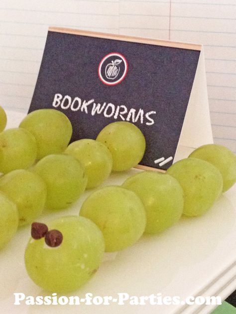Back to school party food - White grapes book worms with mini chocolate chip eyes.  If it was red grapes FUCK yes or those grapes if they are really sweet.  so Fucking yummy LOL.