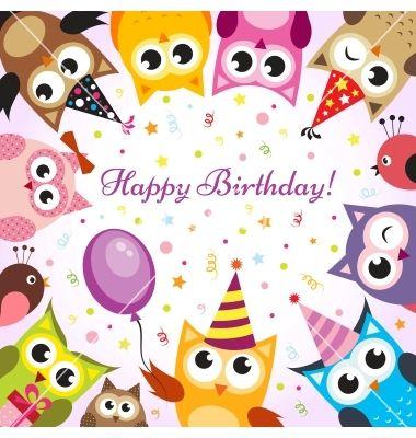 Birthday card with owls vector 1116364 - by Ann_Precious on VectorStock®