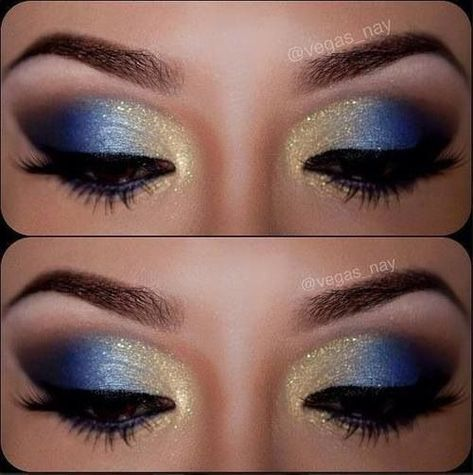 12 Gorgeous Blue and Gold Eye Makeup Looks and Tutorials Beautiful blue and gold smokey eye makeup - Das schönste Make-up Gold Eyeliner, Gold Eye Makeup, Smokey Eye Makeup, Beauty Makeup, Smoky Eye, Makeup Shayla, Peacock Makeup, Sparkly Makeup, Silver Makeup