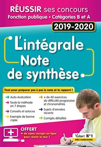 Telecharger Pdf L Integrale De La Note De Synthese Categories A Et B Concours 2019 2020 Livre Pdf Gratuit Livre 7080 Pdf Di 2020