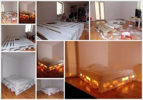 Idee Per La Camera Fai Da Te : Crate bed with lights home ideas fai da te buone